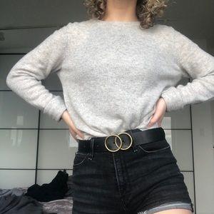 100% cashmere heather gray sweater